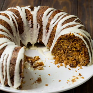Cinnamon Caramel Applesauce Coffee Cake goes great with a cup of coffee for a fall breakfast
