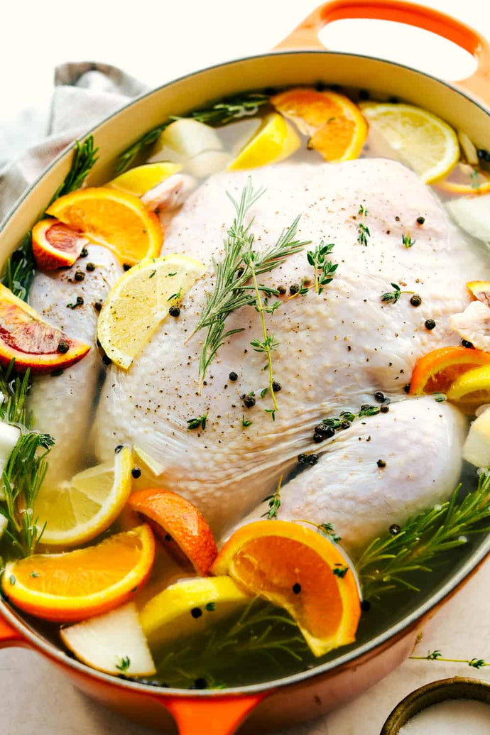 Turkey Brine creates a tender, moist and juicy turkey with sweet citrusy flavoring and a hint of spice all submerged in a water bath for your turkey to soak from the inside-out