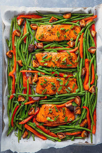 This Whole30-compliant sheet pan Teriyaki Salmon is a cinch to make and a breeze to clean up! Don't you love when you can throw everything on a sheet pan and have dinner ready in 30 minutes?