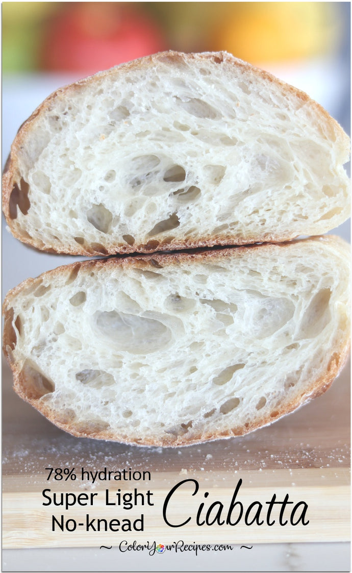 This ciabatta has a super open crumb, it is so light and airy…perfect to dip into an extra virgin olive oil, as your soup companion or as sandwich