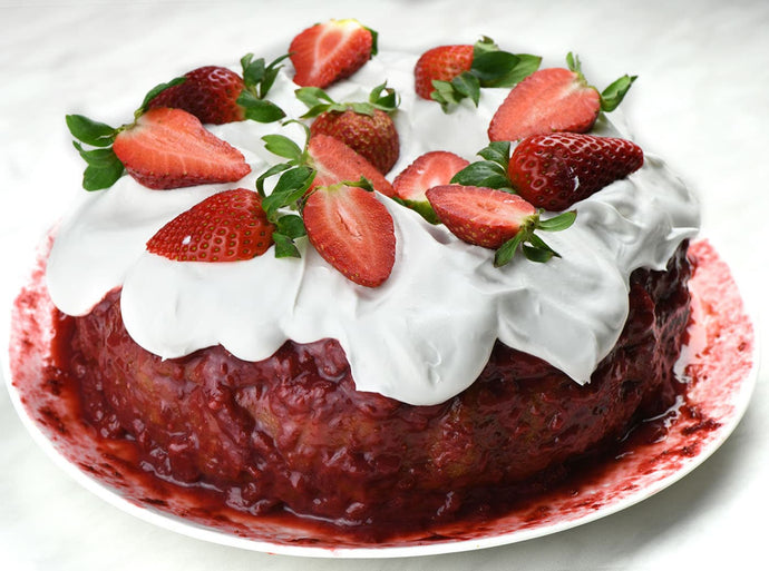 Triple Strawberry Cake is a moist and flavorful cake made with cake mix boosted with fresh strawberries, covered with yummy strawberry glaze and a lot of whipped cream and more fresh strawberries on top