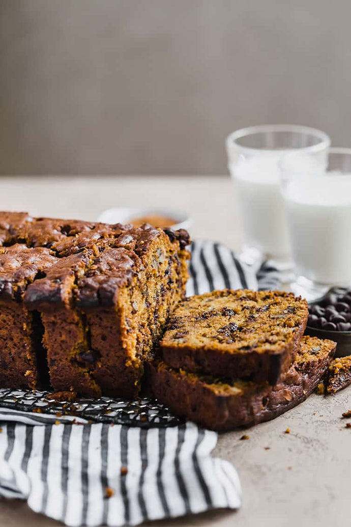 No, seriously! This easy, one-bowl pumpkin bread is incredibly moist, loaded with spices, chocolate chips, and pecans, and freezes beautifully
