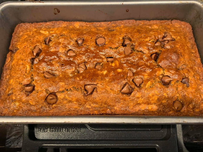 My sweet friend Mikaela made this gluten free chocolate chip banana bread for me