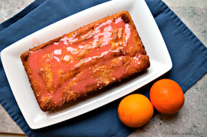 Buttermilk Passion Fruit Pound Cake with Blood Orange Glaze