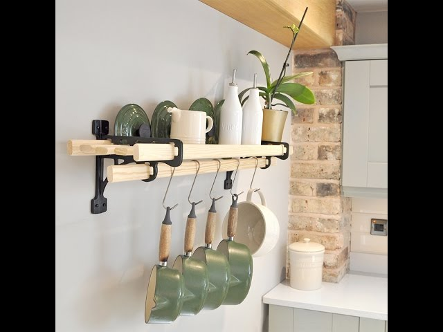 Immensely practical our wall mounted cast iron and pine shelf rack will grace any kitchen and is exclusively designed by Cast in Style®