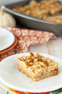 Pumpkin Cheesecake Crumble Squares are a delicious, three-layer, fall dessert recipe!