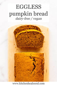 Make this eggless pumpkin bread with this easy recipe that's mixed by hand and that's also dairy-free and vegan! This pumpkin bread is great toasted for breakfast and freezes very well