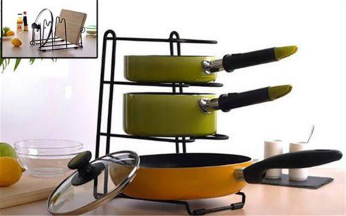 3 Slots Pan Stand Dish Rack Pot Holder Cookware Organizer ​