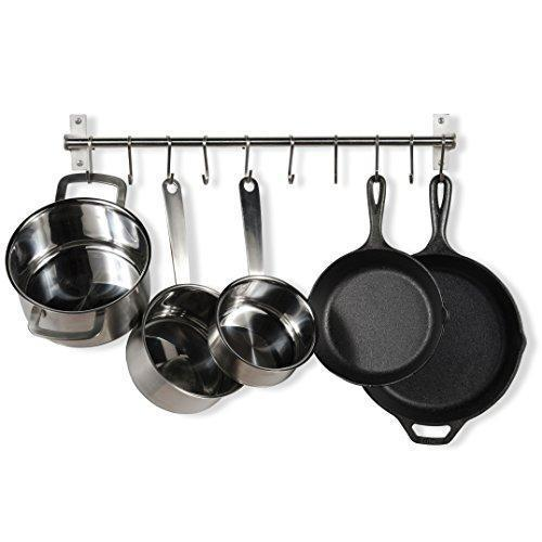 Stainless Steel Gourmet Kitchen 23.25 Inch Wall Rail Pot Pan Utensil Lid Rack Storage Organizer with 10 S Hooks