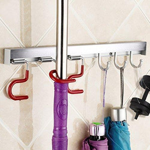 Itafusa Mop Broom Holder Organizer, 3 Adjustable Positions Holder with 3 Hooks Wall Mounted Cleaning Tools Organizer,Space Saver Rags Dusters Rakes Utility Hooks Holder for Kitchen Garage Office