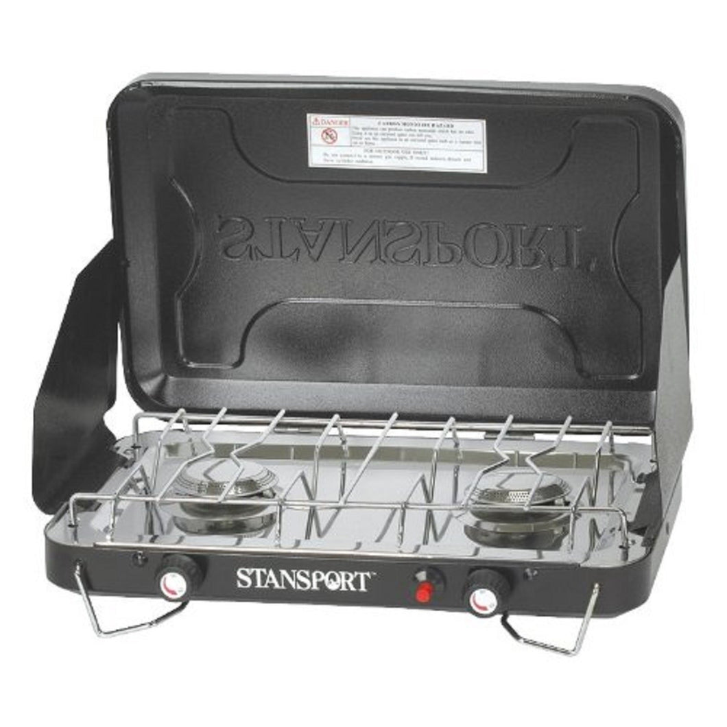 Stansport 2 Burner Stove Piezo Igniter with Drip Pan (Color: Black)