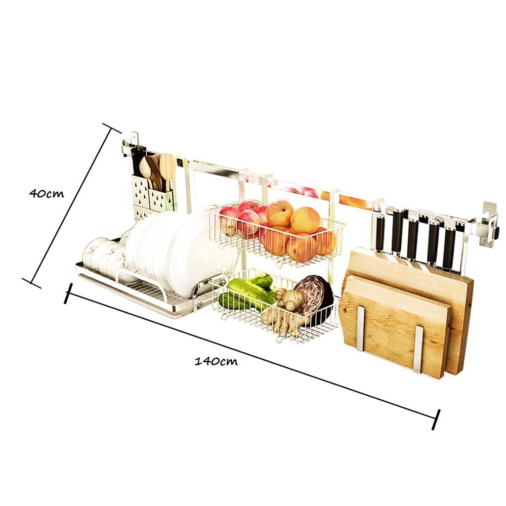 Shelf Liners Kitchen Shelf Stainless Steel Kitchen Sink Rack Wall Mount Pan Racks Tableware Drain Rack Basin Dish Rack Storage Rack Storage & Organization (Color : Silver, Size : 14040cm)