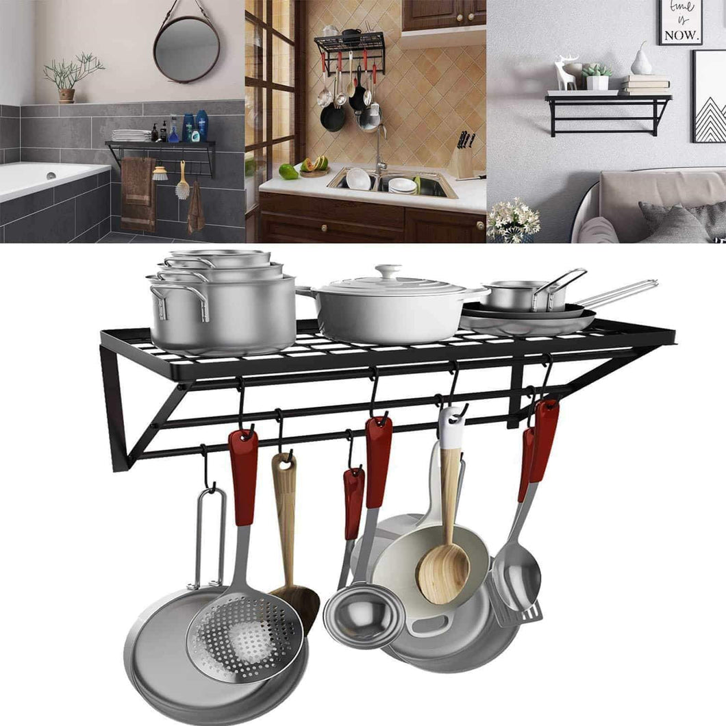 Kaluo 3 Tier Hanging Wall Mount Pot Rack Kitchen Storage Shelf with 10 hooks for Kitchen Cookware, Utensils, Pans, Household Items