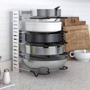 Lifewit Expandable Adjustable Kitchen Cabinet Pantry Pan and Pot Lid Organizer Rack Holder, 5-Tier Compartments Cupboard Bakeware Lid Plate Holder, Silver and Black
