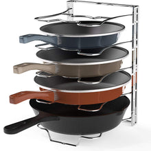 7 Adjustable Compartments Pan and Pot Lid Organizer Rack Holder, Chrome