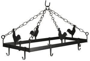 COUNTRY ROOSTER POT & PAN RACK ~ Hanging Wrought Iron with 8 Scroll Hooks USA