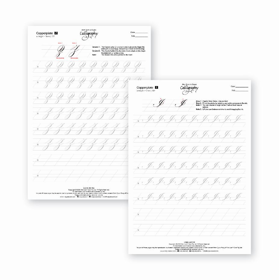 INSTANT DOWNLOAD Practice Sheets - Traditional Copperplate Majuscules (Uppercase)