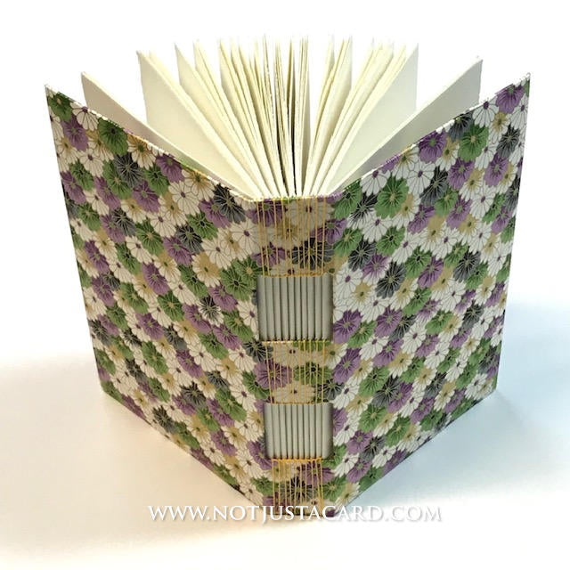 Buttonhole Stitch Bookbinding - Purple Green Daisy