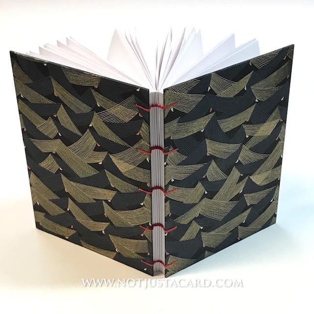 Coptic Stitch Bookbinding (with deckled edges) - Black and Gold