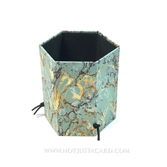 Foldable Pen Holder - Green and Gold Marbled Paper