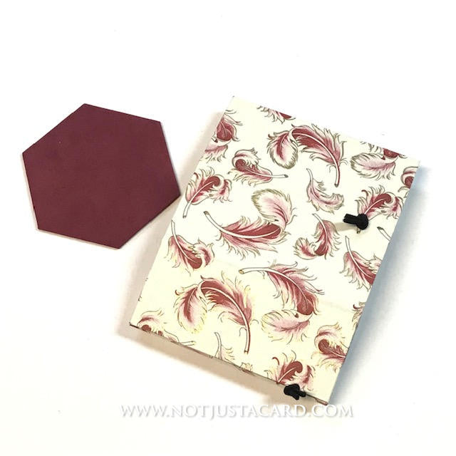Foldable Pen Holder - Burgundy Feathers
