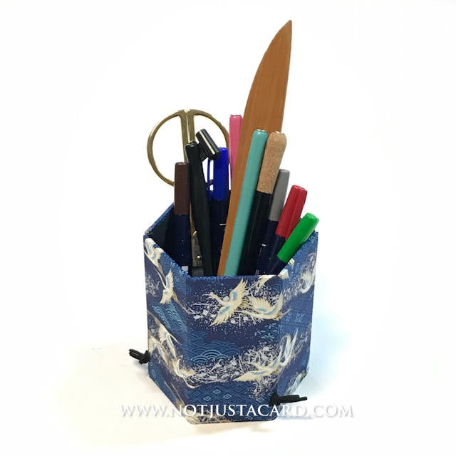 Foldable Pen Holder - Blue and Gold Flying Cranes