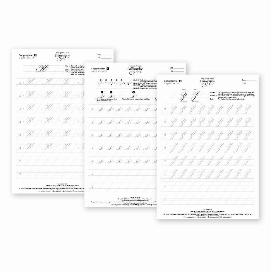 INSTANT DOWNLOAD Practice Sheets - Traditional Copperplate Minuscules & Majuscules (Lowercase & Uppercase)