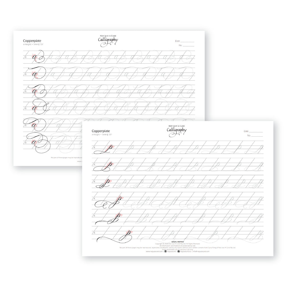 INSTANT DOWNLOAD Practice Sheets (Copperplate Flourish Minuscules - Lowercase)