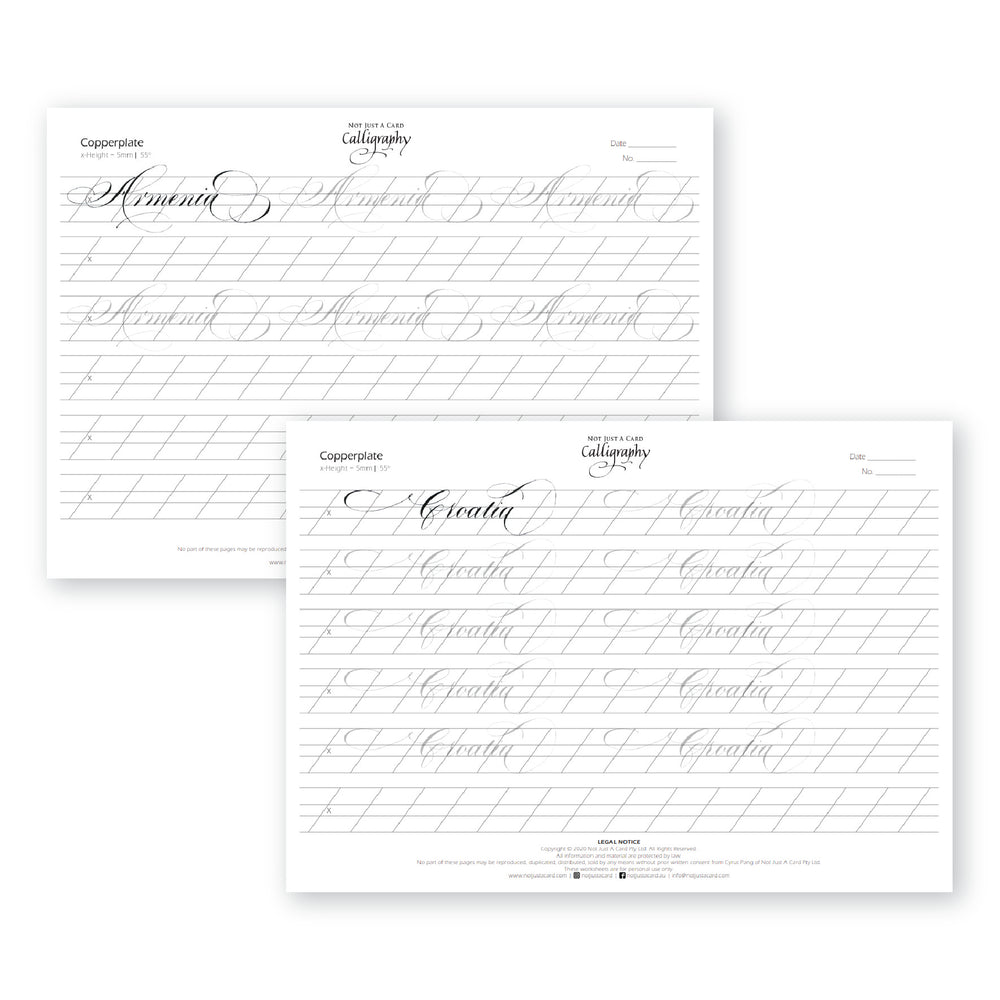 INSTANT DOWNLOAD Practice Sheets (Copperplate Flourish Connected Words A to Z - COUNTRIES - Beginner Level)