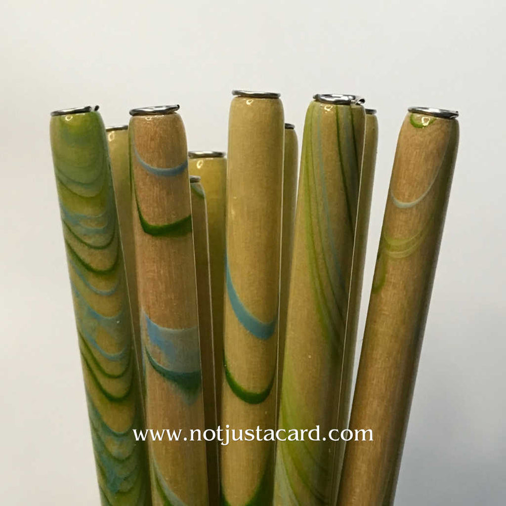 Straight Penholder - Blue/Green Marbled