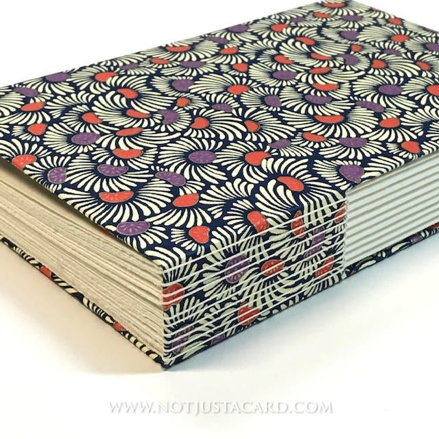 Buttonhole Stitch Bookbinding - Purple White Flowers
