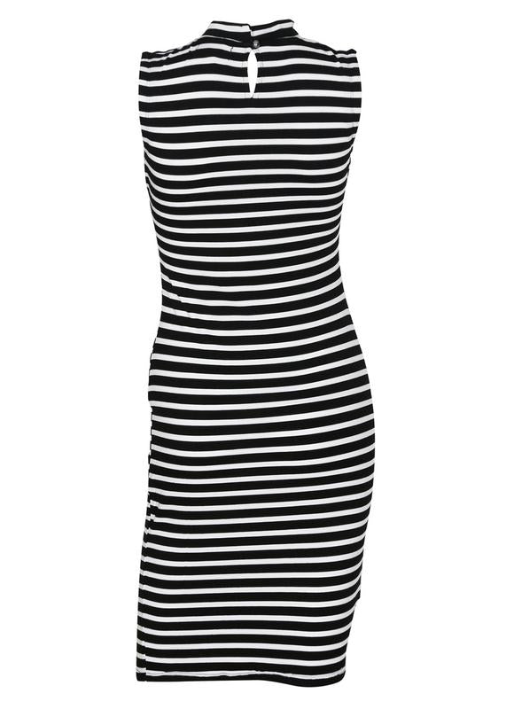 Hi-Neck Striped Dress