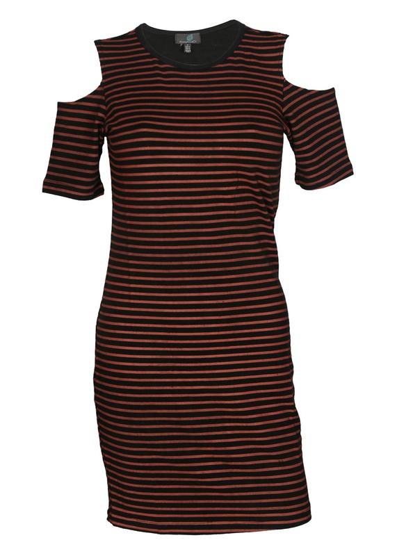 Bodycon Striped dress Cold Shoulder