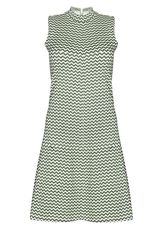 Hi-Neck Chevron Dress