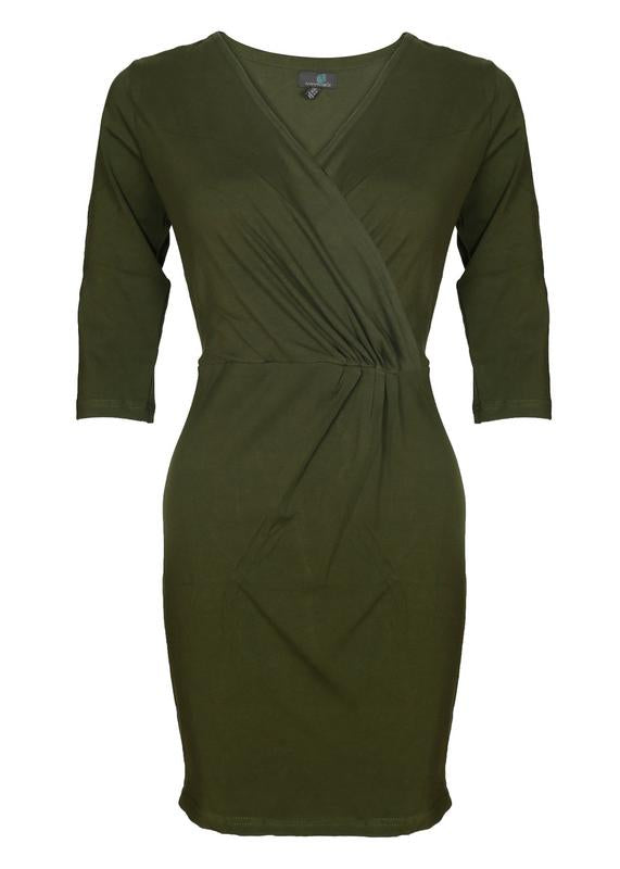 Olive Pleated  Dress