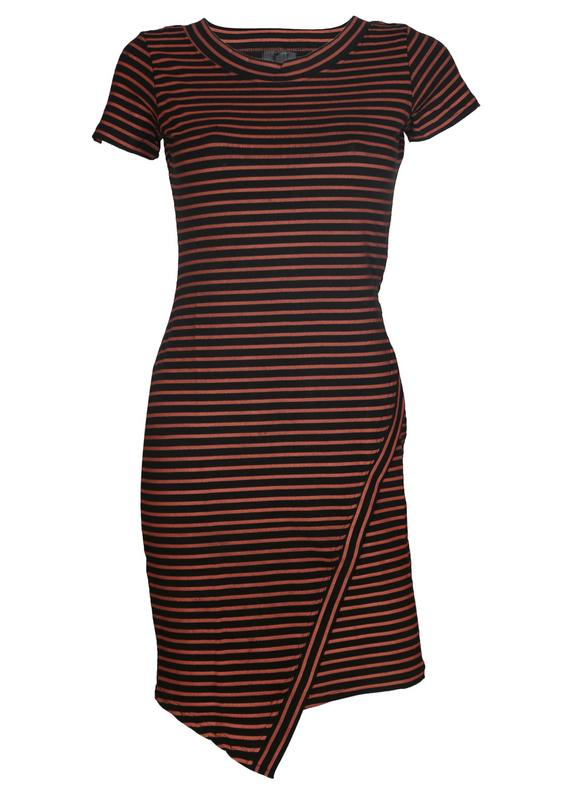 Striped Mock Overlap Dress