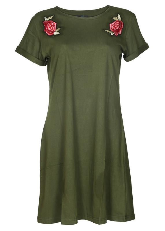 Rose Embroidered Tee Dress