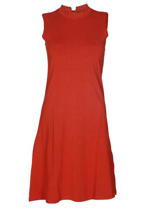 Hi-Neck Solid Dress