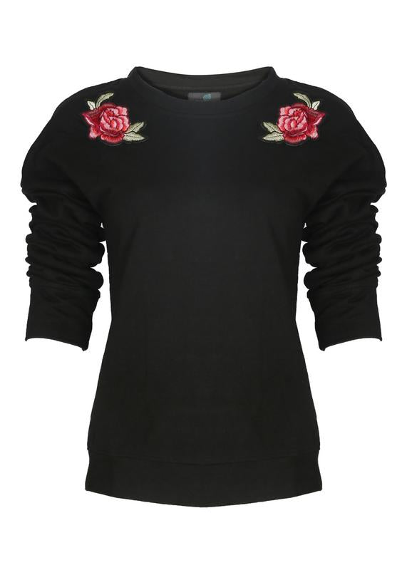 Rose Embroidered Sweatshirt