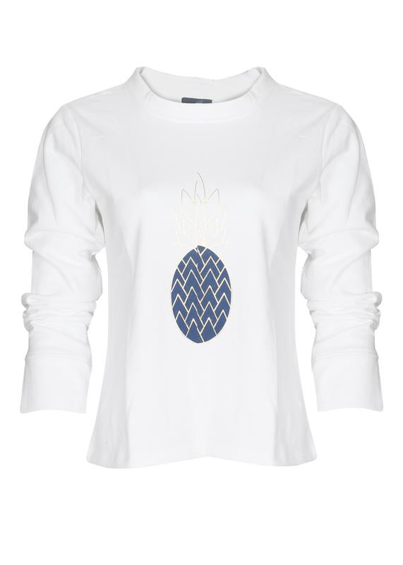 Pineapple Print Crop Sweatshirt