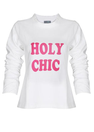 Text Print Crop Sweatshirt