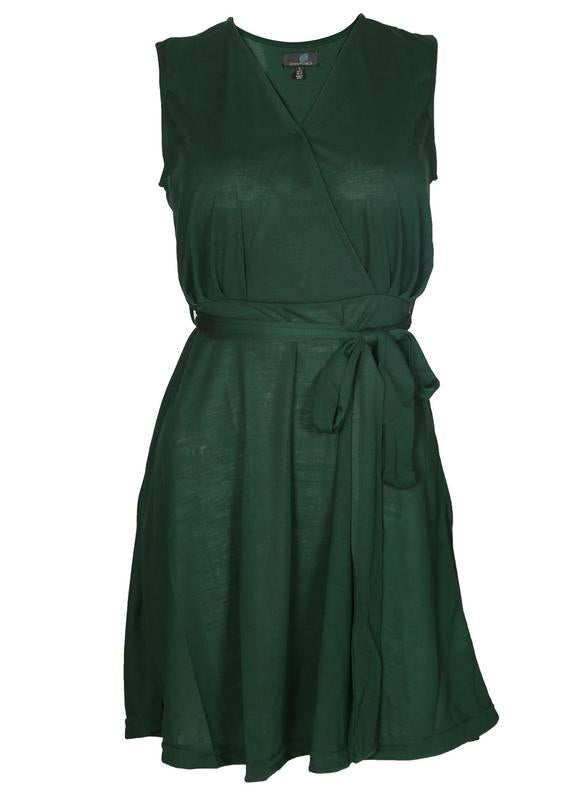 Overlap Yoke Belted Dress