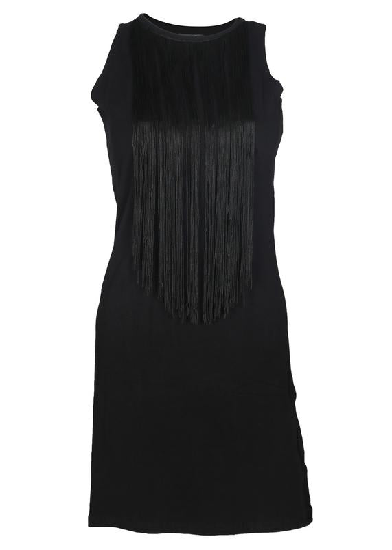 Fringed Neckline Dress