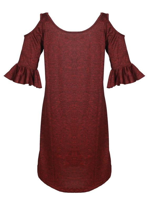 Cold Shoulders Flare Dress