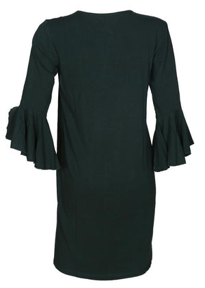 Solid Neck-Tie Dress