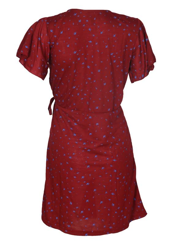 Flared Sleeves Wrap Dress