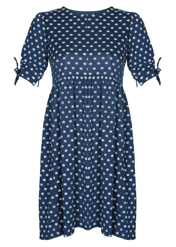 Sleeves Tie-up Printed Dress