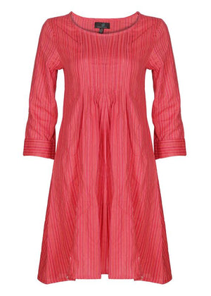 Pleated Embroidered Dress
