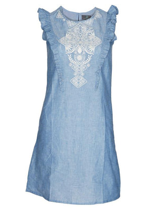 Chambray Embroidered Ruffled Dress