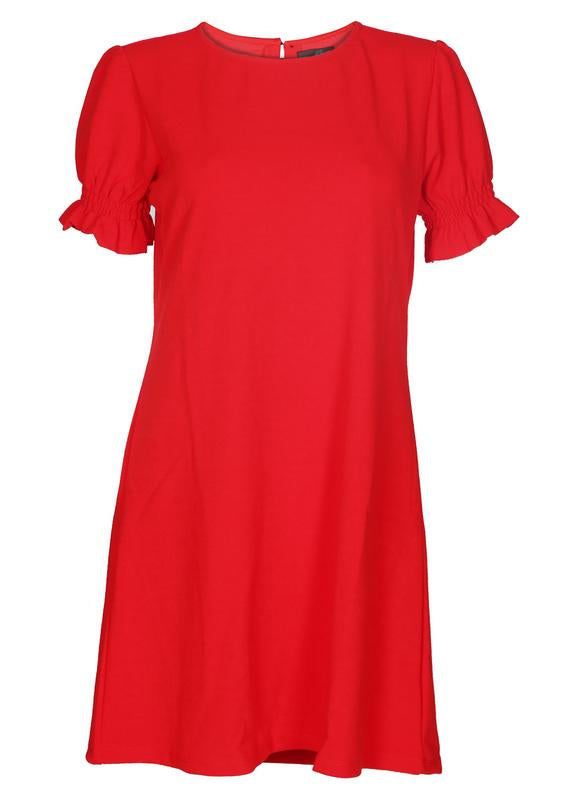 Puff Sleeves Solid Dress